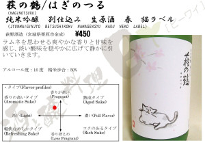 萩の鶴純米吟醸別仕込み猫ラベル春26BY