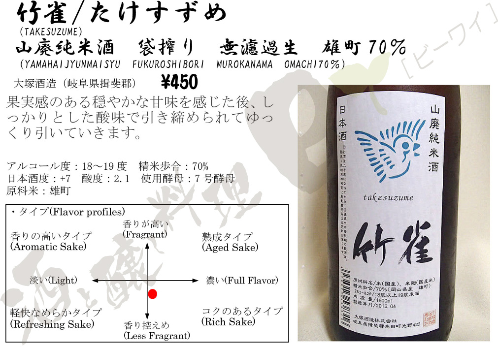 竹雀山廃純米無濾過生原酒26BY